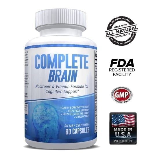 CompleteBrain – Powerful Nootropic and Brain Supplement - Improves Memory, Mood, Focus, Clarity and Creativity – 30 Servings-0