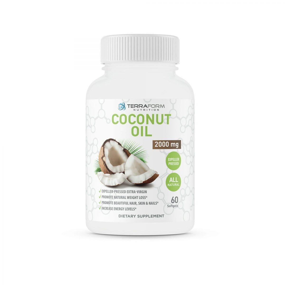 Coconut Oil Capsules Extra Virgin Expeller-Pressed 2000mg – 60 Softgels-342