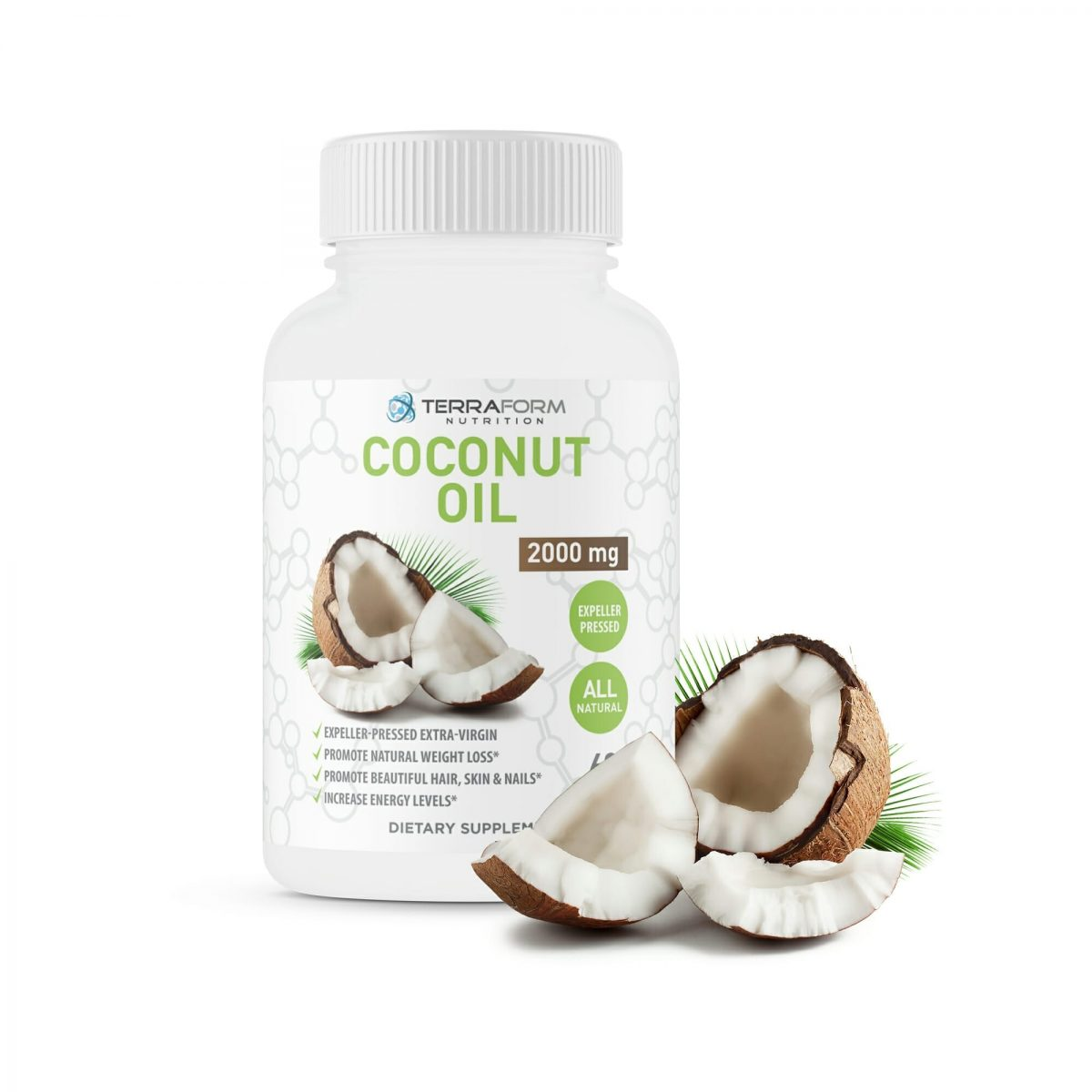 Coconut Oil Capsules Extra Virgin Expeller-Pressed 2000mg – 60 Softgels-0