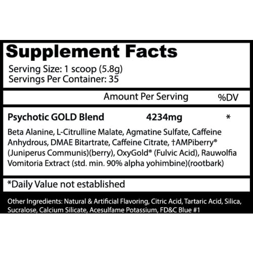 Psychotic Gold Pre Workout - Fruit Punch - 35 Servings - Insane Labz-196