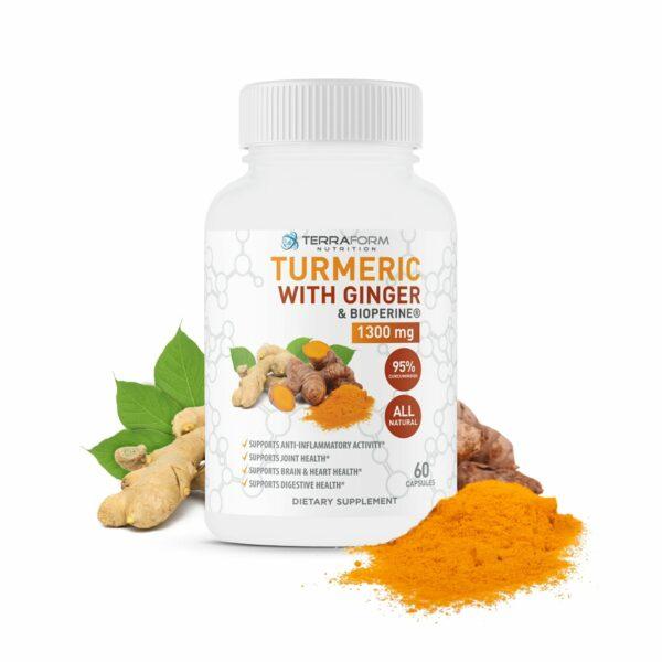 Turmeric Curcumin with Ginger & BioPerine – 60 Capsules-0