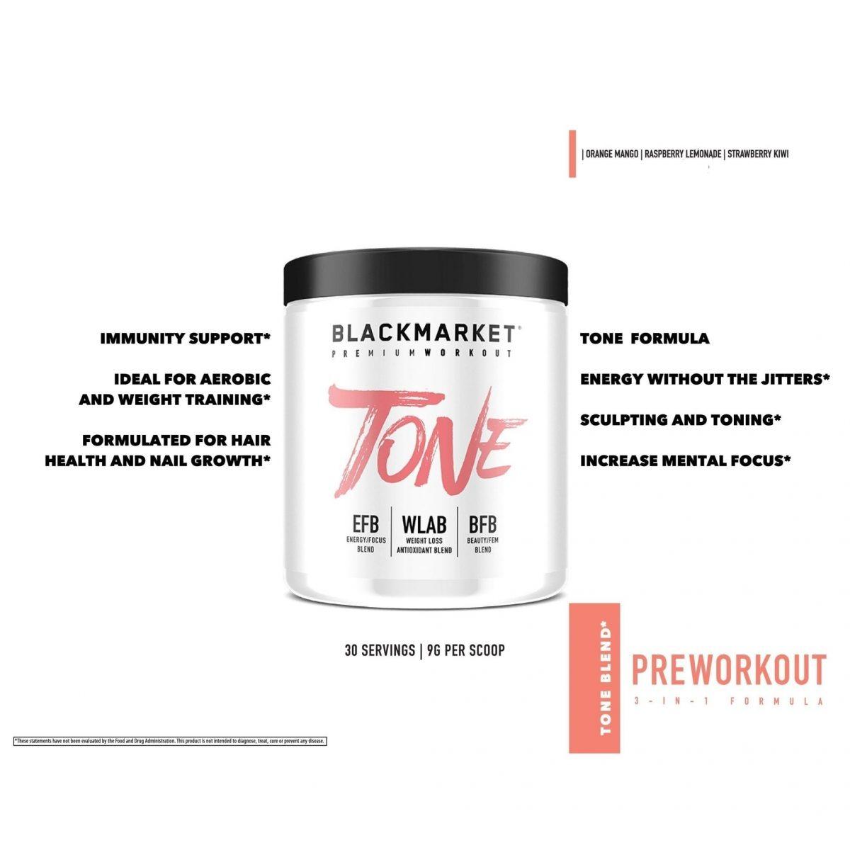 Tone - Women's Pre Workout - Orange Mango - 30 Servings By Blackmarket Labs-717