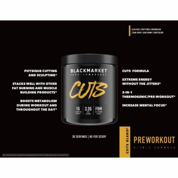 Adrenolyn Cuts - Pre Workout - Cran Grape - 30 Servings By Blackmarket Labs-672