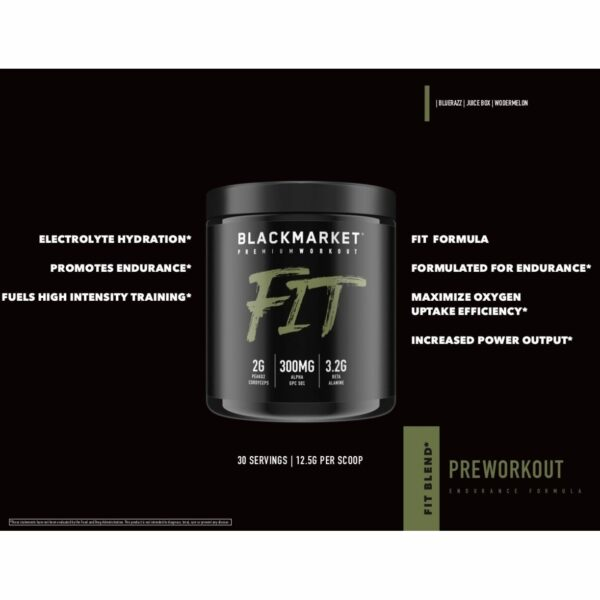 Fit - Pre Workout - Blue Razz - 30 Servings By Blackmarket Labs-696