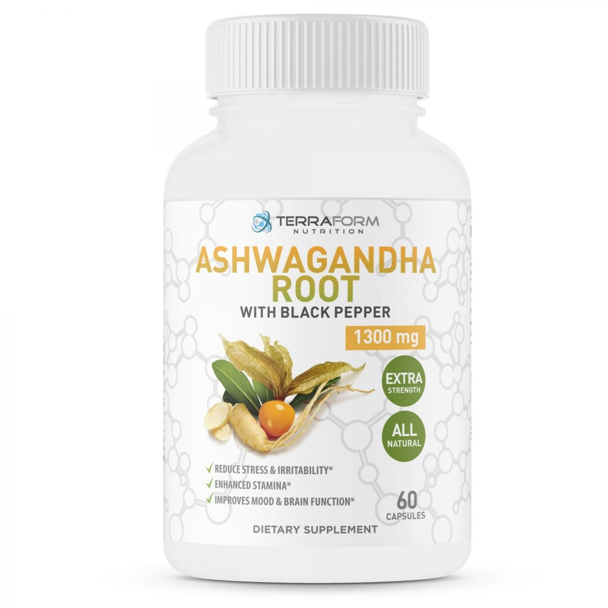 Pure Ashwagandha Root with Black Pepper – 1300mg – 1 Month Supply-796