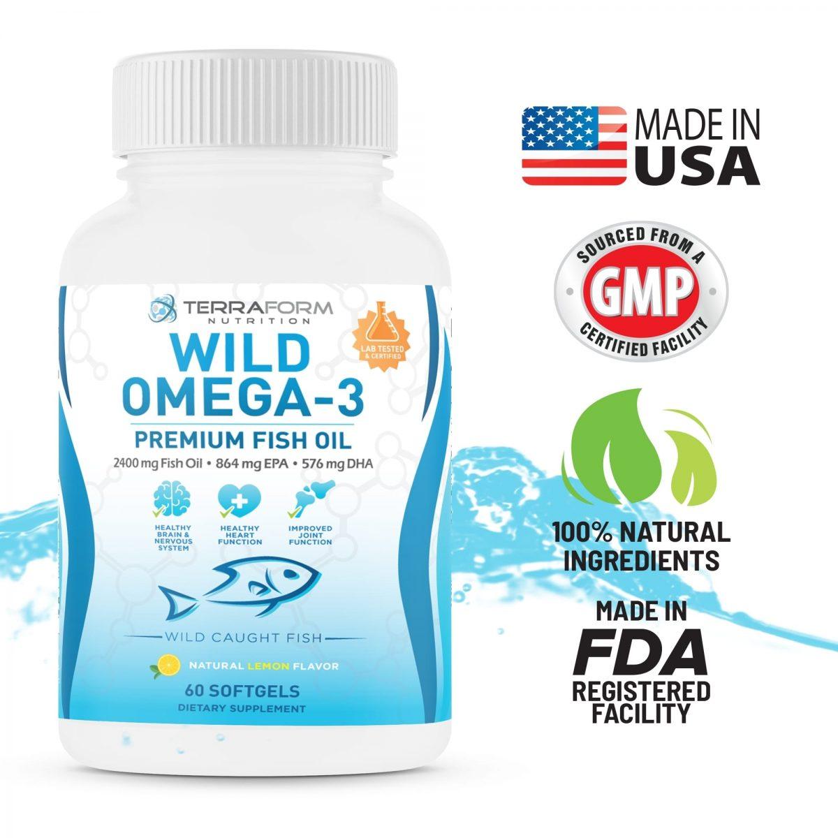 Wild Omega 3 Fish Oil 2400mg - 60 Capsules-778