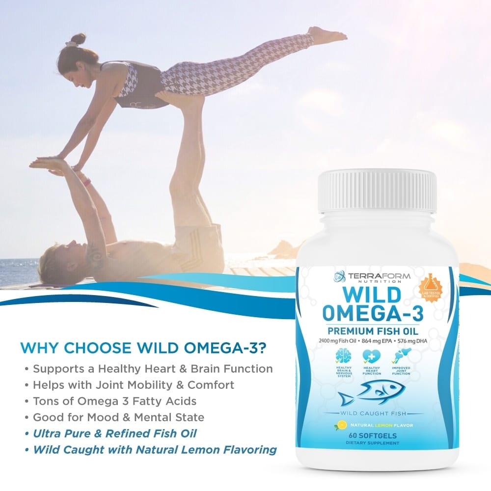 Wild Omega 3 Fish Oil 2400mg - 60 Capsules-783
