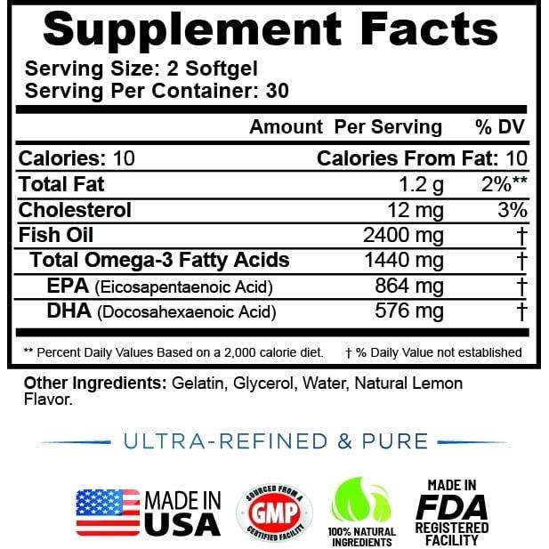 Wild Omega 3 Fish Oil 2400mg - 60 Capsules-784