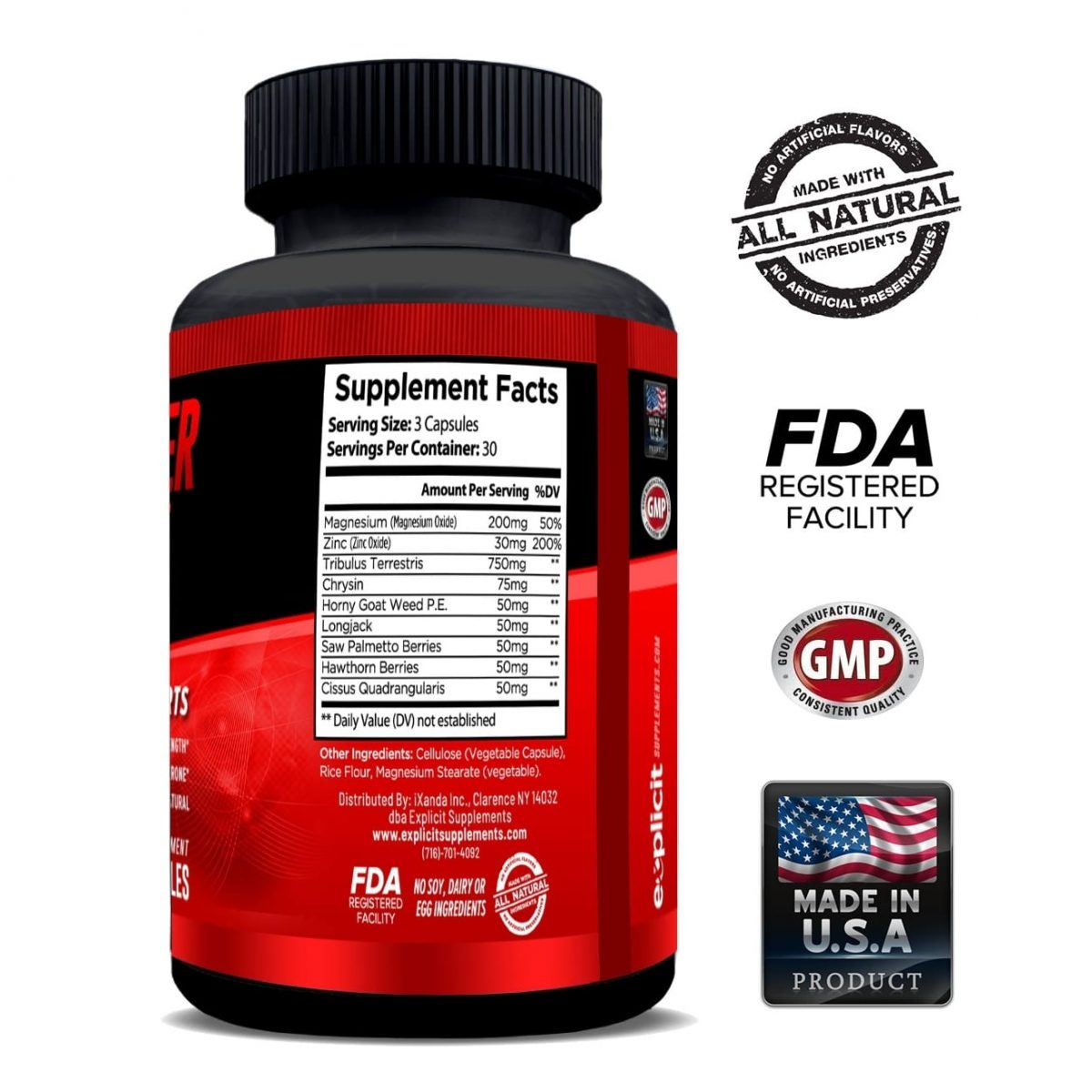 Raw Power Testosterone Booster - 90 Capsules -30 Servings By Explicit Supplements-755