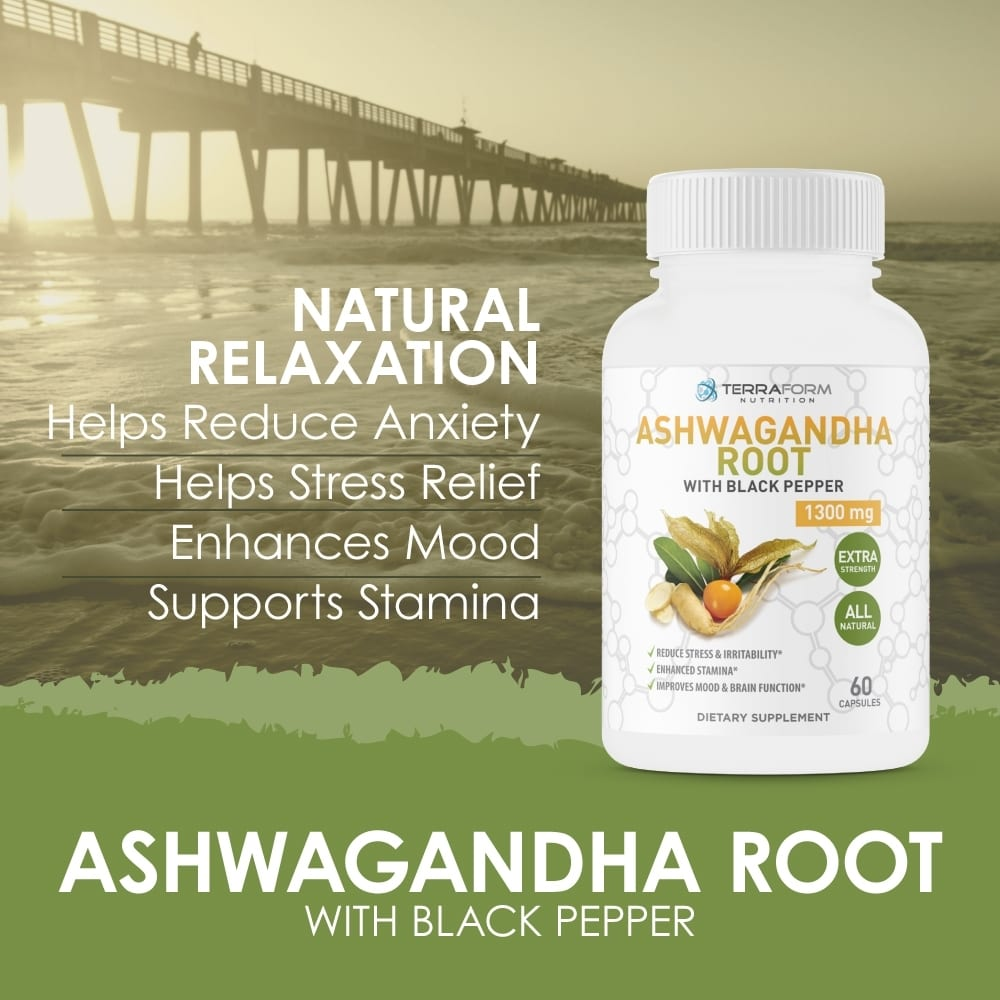 Pure Ashwagandha Root with Black Pepper – 1300mg – 1 Month Supply-803